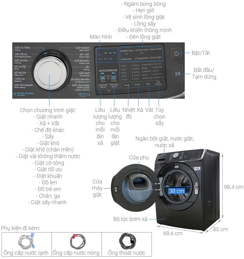 Thông số kỹ thuật Máy giặt sấy Samsung Add Wash Inverter 19 kg WD19N8750KV/SV