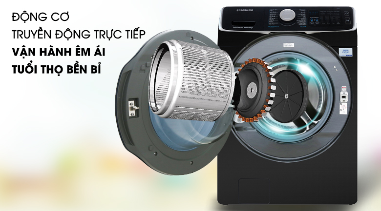 Động cơ truyền động trực tiếp - Máy giặt sấy Samsung Add Wash Inverter 19 kg WD19N8750KV/SV