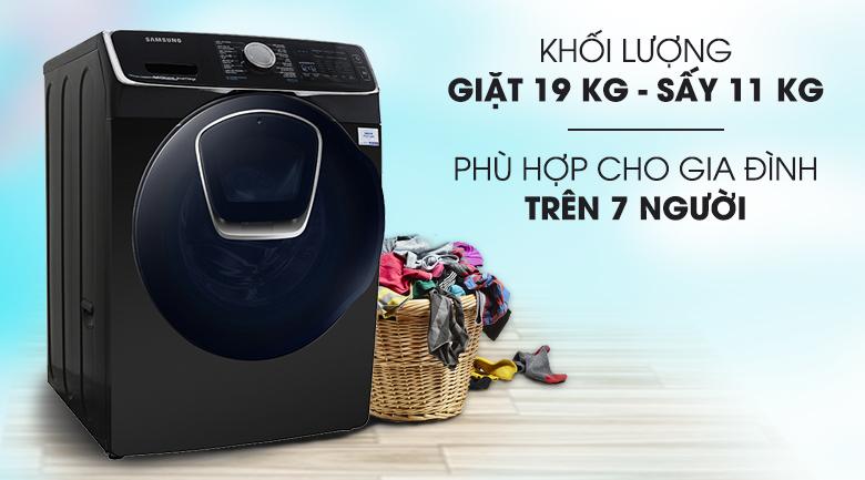 Giặt 19 kg, sấy 11 kg - Máy giặt sấy Samsung Add Wash Inverter 19 kg WD19N8750KV/SV