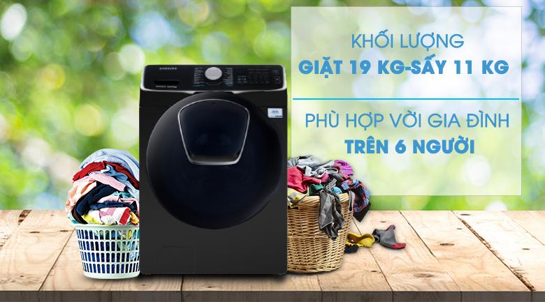 Khối lượng giặt-Máy giặt sấy Samsung Add Wash Inverter 19 kg WD19N8750KV/SV
