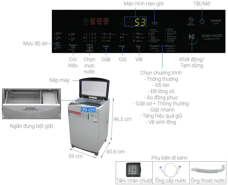 Thông số kỹ thuật Máy giặt LG Inverter 10.5 kg T2350VS2M