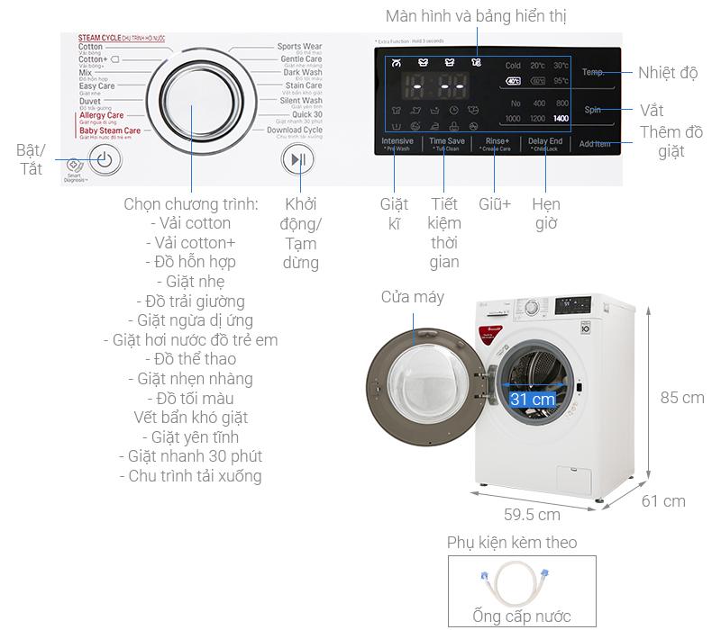 Thông số kỹ thuật Máy giặt LG Inverter 9 kg FC1409S4W