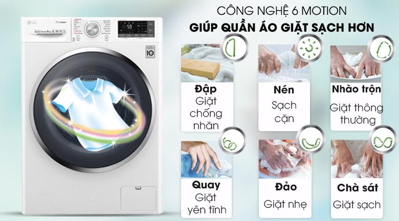 Máy giặt LG Inverter 9 kg FC1409S4W - Nâng cao hiệu quả giặt sạch với công nghệ 6 Motion