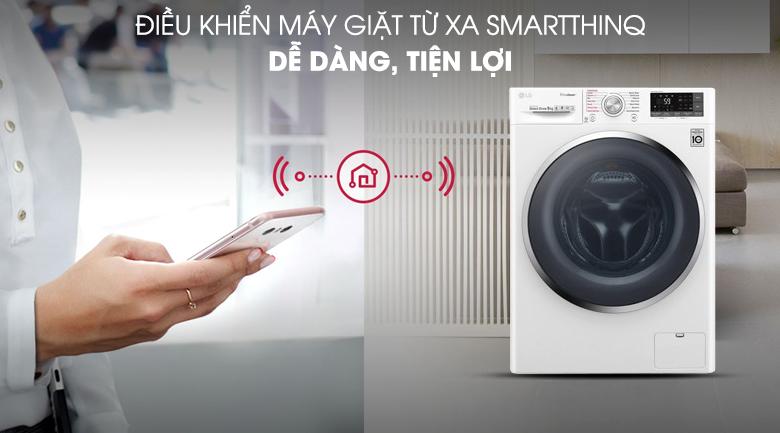 Máy giặt LG Inverter 9 kg FC1409S4W - Điều khiển máy giặt từ xa SmartThinQ rất tiện lợi