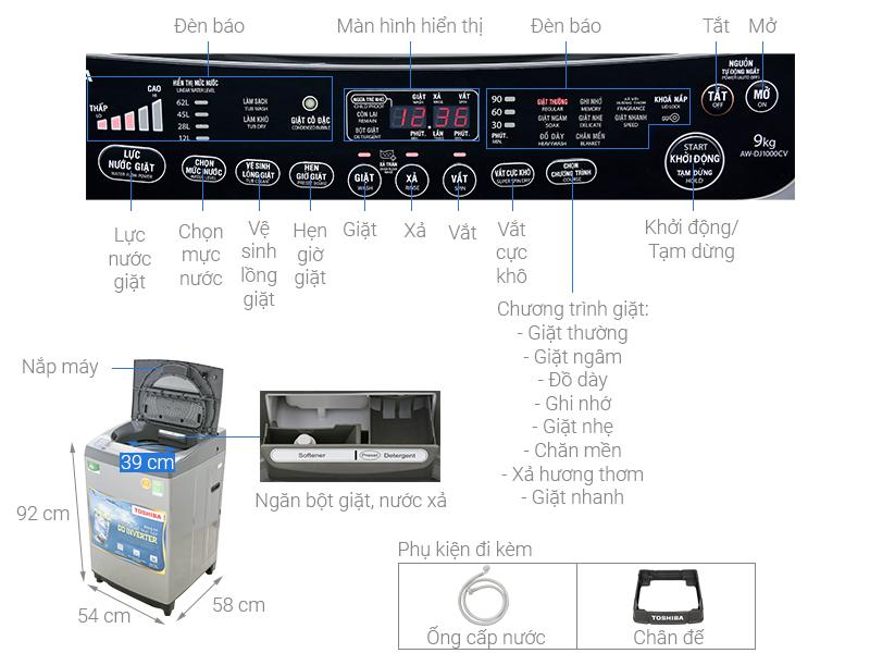 Thông số kỹ thuật Máy giặt Toshiba Inverter 9 Kg AW-DJ1000CV SK