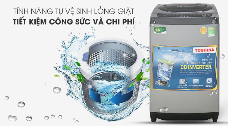 Vệ sinh lồng giặt tự động - Máy giặt Toshiba Inverter 9 Kg AW-DJ1000CV SK
