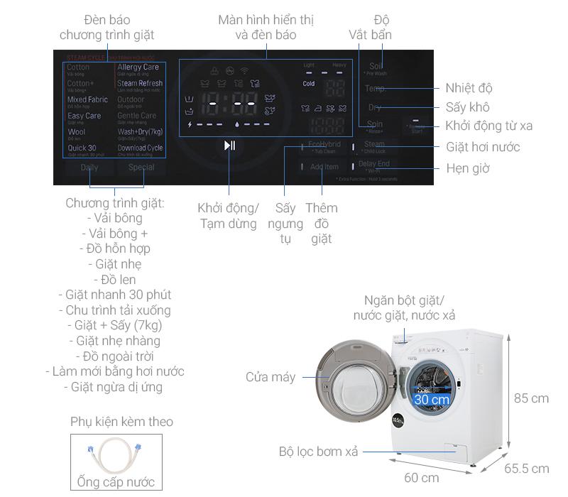 Thông số kỹ thuật Máy giặt sấy LG Inverter 10.5 kg FG1405H3W1