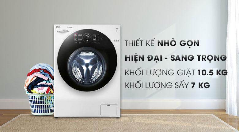 Máy giặt sấy 2 trong 1 - Máy giặt sấy LG Inverter 10.5 kg FG1405H3W1