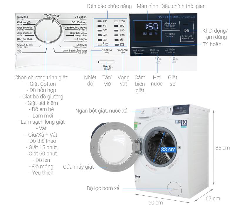 Thông số kỹ thuật Máy giặt Electrolux Inverter 8 kg EWF8024BDWA