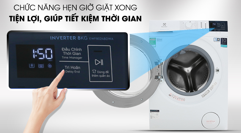 Chức năng hẹn giờ giặt xong -Chế độ vệ sinh lồng giặt - Máy giặt Electrolux Inverter 8 kg EWF8024BDWA