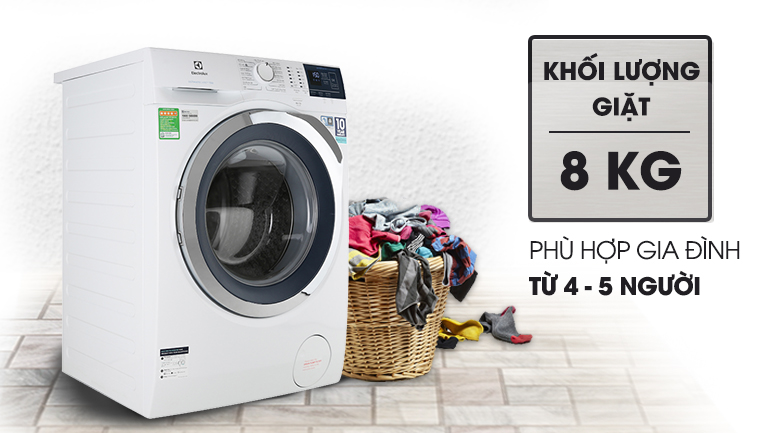 Khối lượng giặt 8 KG - Máy giặt Electrolux Inverter 8 kg EWF8024BDWA