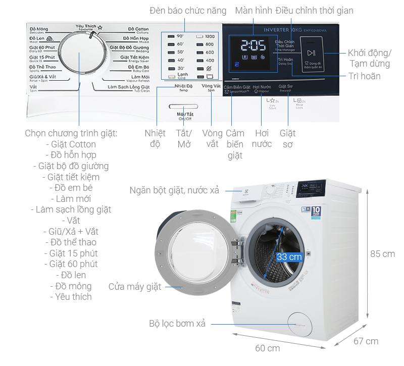 Thông số kỹ thuật Máy giặt Electrolux Inverter 10 kg EWF1024BDWA
