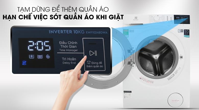 Thêm đồ khi giặt - máy giặt Electrolux Inverter 10 kg EWF1024BDWA