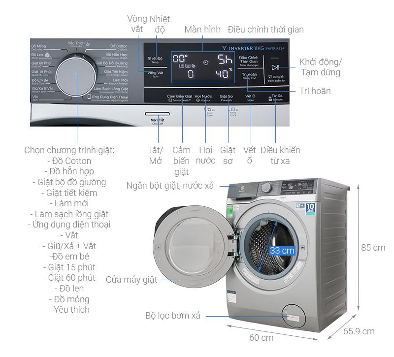Thông số kỹ thuật Máy giặt Electrolux Inverter 11 kg EWF1141AESA