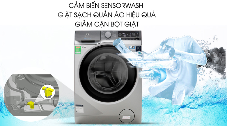 Cảm biến SensorWash - Máy giặt Electrolux Inverter 11 kg EWF1141AESA