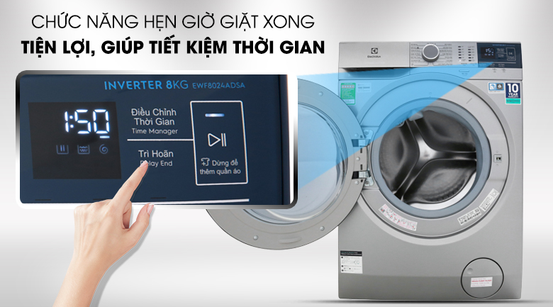 Hẹn giờ giặt xong - Máy giặt Electrolux EWF8024ADSA