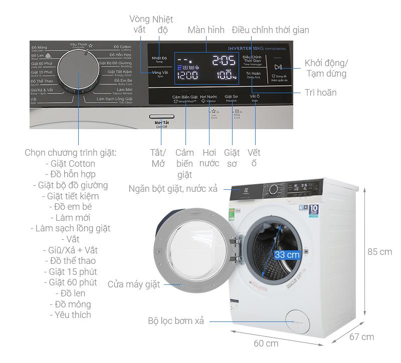 Thông số kỹ thuật Máy giặt Electrolux Inverter 10 kg EWF1023BEWA