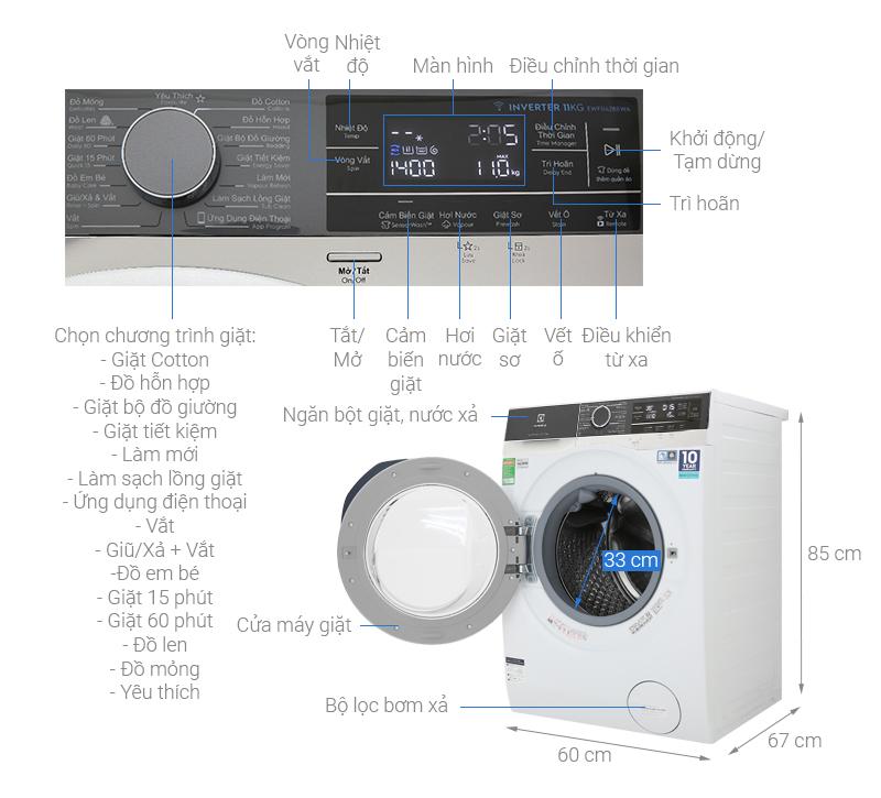 Thông số kỹ thuật Máy giặt Electrolux Inverter 11 kg EWF1142BEWA