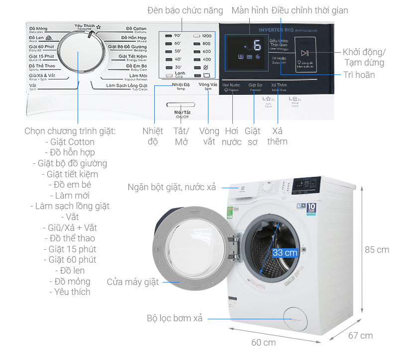Thông số kỹ thuật Máy giặt Electrolux Inverter 9 kg EWF9024BDWB