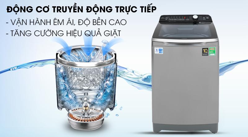 Máy giặt Aqua Inverter 10 Kg AQW-DR100ET S-Hoạt động êm, độ bền cao với động cơ truyền động trực tiếp