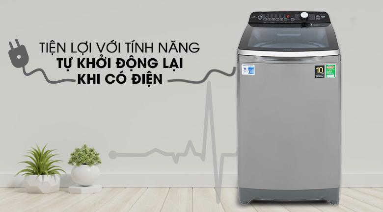 Tự khởi động lại khi có điện - Máy giặt Aqua Inverter 10 Kg AQW-DR100ET S