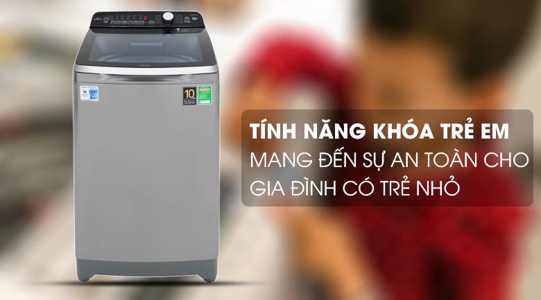 Tính năng khóa trẻ em - Máy giặt Aqua Inverter 10 Kg AQW-DR100ET S