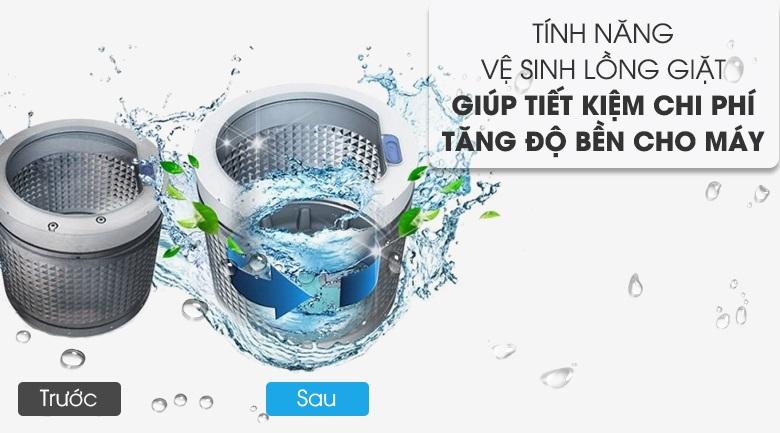 Vệ sinh lồng giặt tự động - Máy giặt Aqua Inverter 10 Kg AQW-DR100ET S