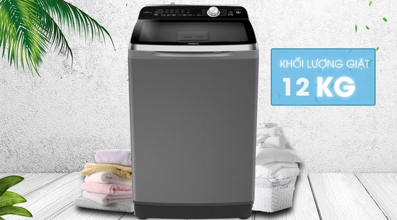 Máy giặt Aqua Inverter 12 Kg AQW-DR120CT H - Khối lượng giặt 12 kg, thích hợp gia đình trên 6 người