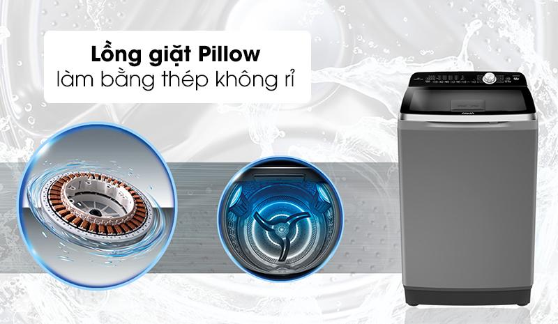 Máy giặt Aqua Inverter 12 Kg AQW-DR120CT H - Tránh tổn thương bề mặt quần áo nhờ lồng giặt Pillow
