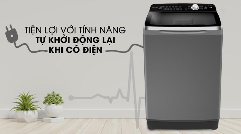 Máy giặt Aqua Inverter 12 Kg AQW-DR120CT H-Tiện với khả năng tự khởi động lại khi có điện