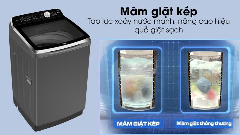 Máy giặt Aqua Inverter 12 Kg AQW-DR120CT H-Nâng cao hiệu quả giặt sạch với mâm giặt kép Twin Pulsator