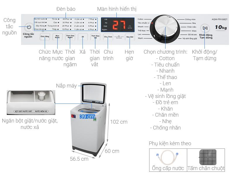 Thông số kỹ thuật Máy giặt Aqua 10 Kg AQW-FR100ET W
