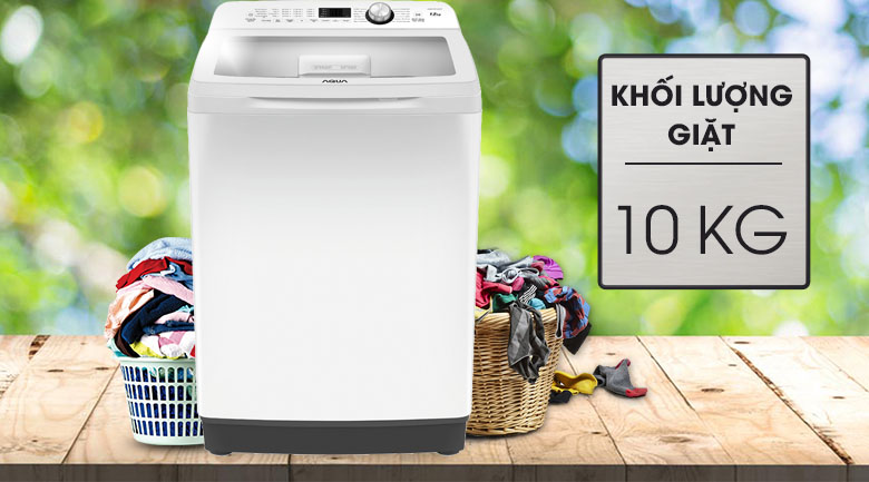 Khối lượng giặt 10 kg - Máy giặt Aqua 10 Kg AQW-FR100ET W