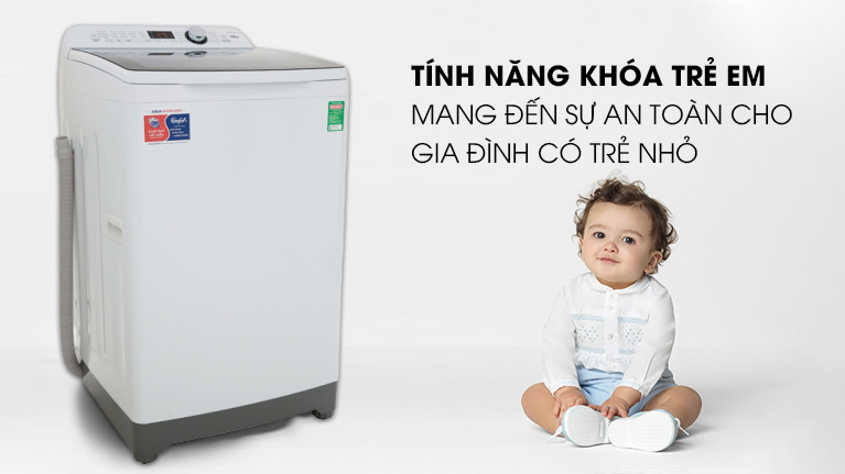 Tính năng khóa trẻ em - Máy giặt Aqua 10 Kg AQW-FR100ET W