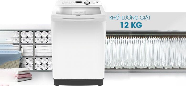 Khối lượng giặt 12 kg - Máy giặt Aqua 12 Kg AQW-FR120CT W