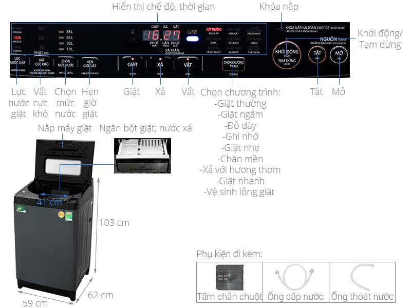 Thông số kỹ thuật Máy giặt Toshiba Inverter 13 kg AW-DUJ1400GV KK