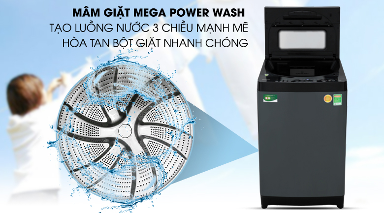 Máy giặt Toshiba Inverter 13 kg AW-DUJ1400GV KK - Hòa tan bột giặt nhanh chóng bởi mâm giặt Mega Power Wash