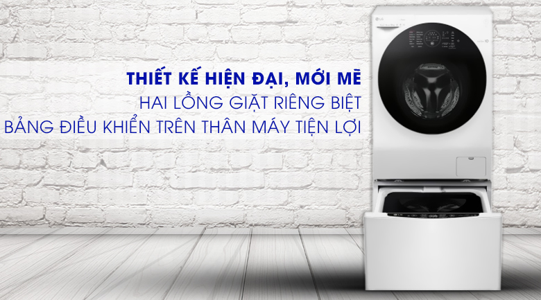 Máy giặt sấy 2 lồng hoạt động nhanh chóng, tiện lợi - Máy giặt sấy LG TWINWash Inverter 10.5 kg FG1405H3W1 & TG2402NTWW