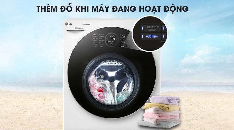 Thêm đồ trong khi giặt qua nút nhấn Add item - Máy giặt sấy LG TWINWash Inverter 10.5 kg FG1405H3W1 & TG2402NTWW