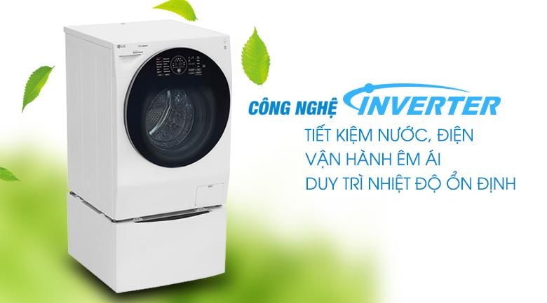Tiết kiệm nước, điện hơn với công nghệ Inverter - Máy giặt sấy LG TWINWash Inverter 10.5 kg FG1405H3W1 & TG2402NTWW