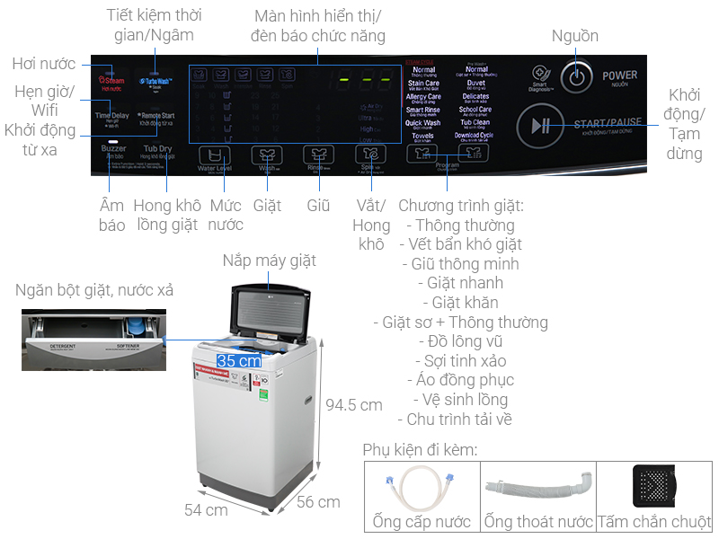 Thông số kỹ thuật Máy giặt LG Inverter 11 kg TH2111SSAL