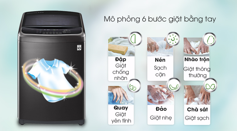 Công nghệ giặt 6 chuyển động - Máy giặt LG Inverter 19 kg TH2519SSAK