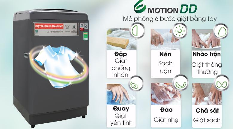 Giặt 6 chuyển động mô phỏng bàn tay con người - Máy giặt LG Inverter 13 kg TH2113SSAK