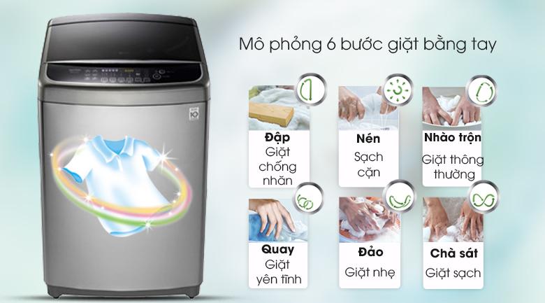 Giặt 6 chuyển động mô phỏng bàn tay con người - Máy giặt LG Inverter 12 kg TH2112SSAV