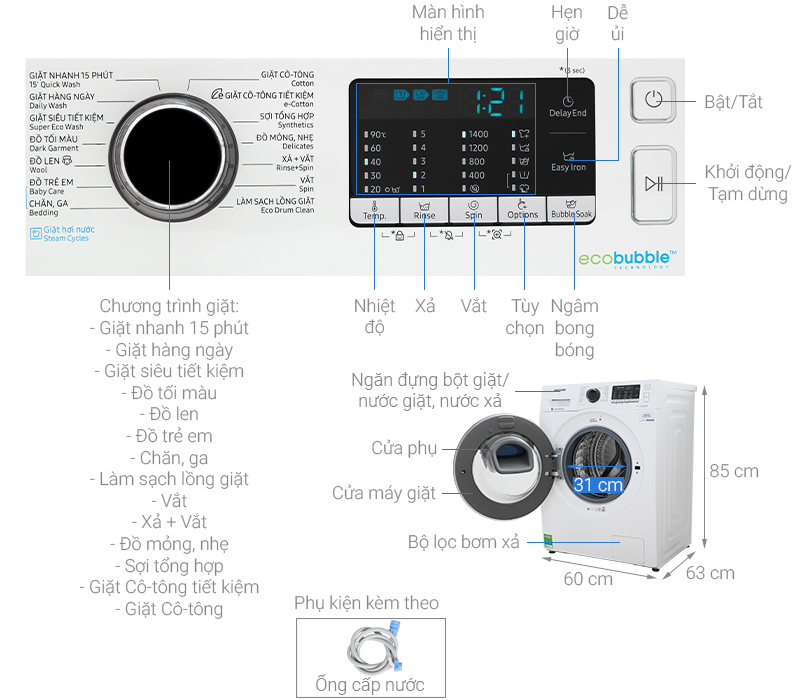 Thông số kỹ thuật Máy giặt Samsung Addwash Inverter 10 kg WW10K54E0UW/SV
