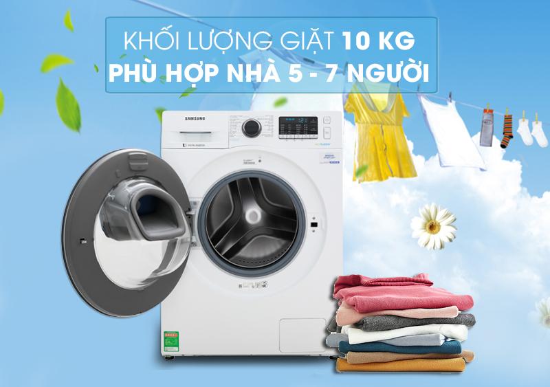 Khối lượng giặt 10 kg - Máy giặt Samsung Addwash Inverter 10 kg WW10K54E0UW/SV
