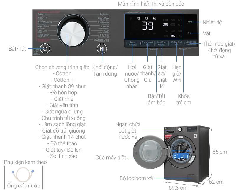 Thông số kỹ thuật Máy giặt LG Inverter 10.5 kg FV1450S2B
