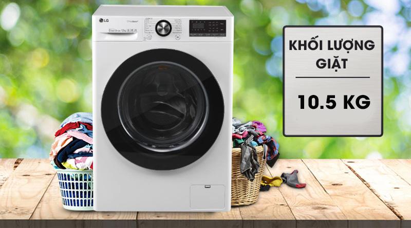 Máy giặt LG Inverter 10.5 kg FV1450S3W-Khối lượng giặt 10.5 kg, phù hợp cho gia đình từ 6 người