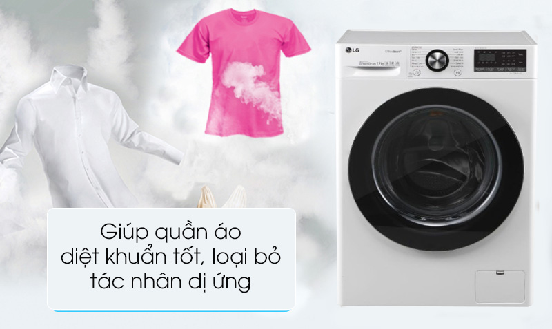 Máy giặt LG Inverter 10.5 kg FV1450S3W  - Diệt khuẩn cao với linh hoạt tiện ích giặt nước nóng và giặt hơi nước