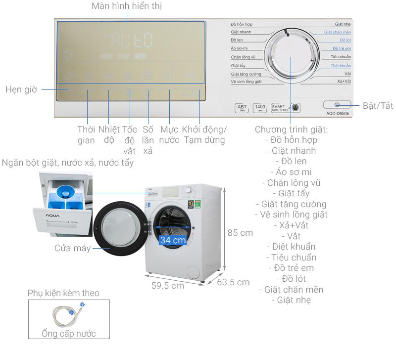 Thông số kỹ thuật Máy giặt Aqua Inverter 9.5 kg AQD-D950E W